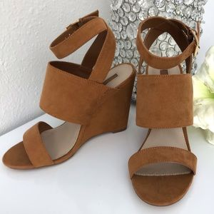 F21 faux suede wedge sandals
